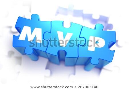 MVP - White Text on Blue Puzzles. Stock photo © tashatuvango