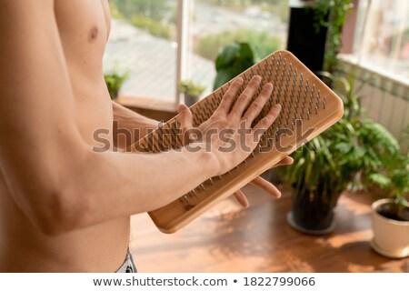 Torse jeune homme main travaux affaires noir Photo stock © Paha_L