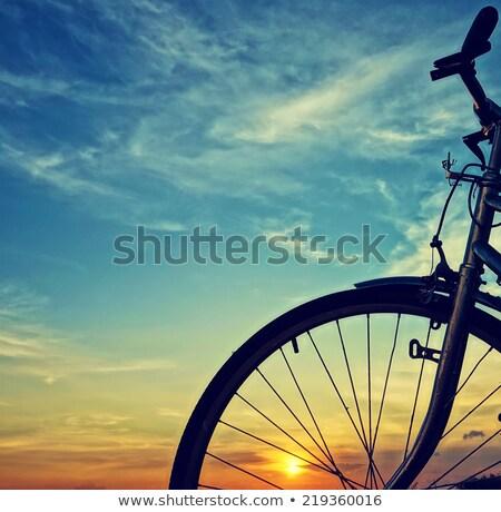 Bicicleta primer plano puesta de sol ciudad deporte naturaleza Foto stock © -Baks-
