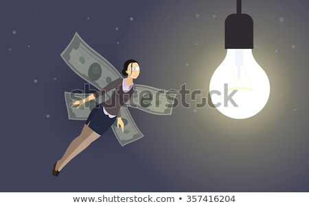 Business woman flying with dollar signs. Stock photo © RAStudio