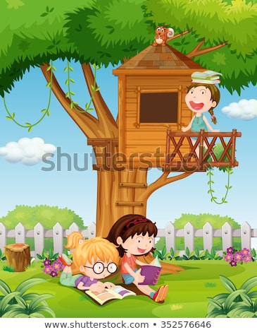 Young girl reading in treehouse Stock photo © IS2