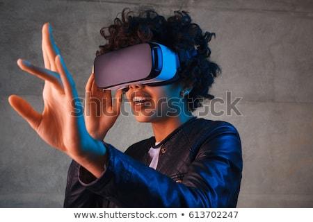Virtual realidad gafas auricular cabeza aislado Foto stock © derocz