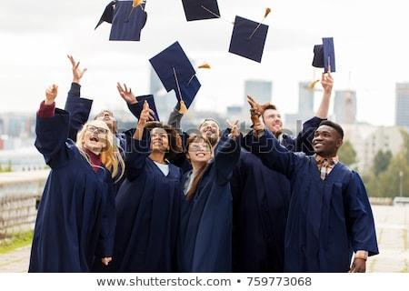 Feliz homem mulher estudantes graduação seis Foto stock © orensila