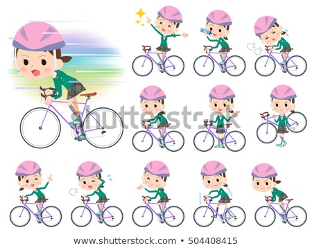 school girl Green Blazer ride on rode bicycle stock photo © toyotoyo