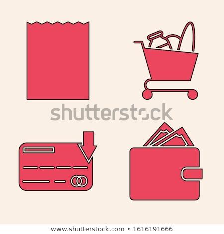 Piros pénztárca tele pénz zárva pénztárca Stock fotó © robuart