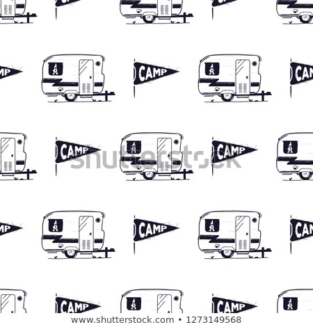 camping rv seamless pattern with camp pennant symbol retro textured style stock wallpaper isolate stock photo © jeksongraphics