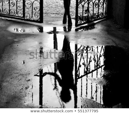 Ragazza piedi marciapiede illustrazione felice muro Foto d'archivio © colematt