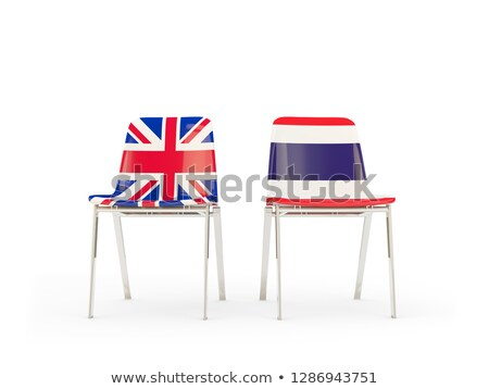 Two chairs with flags of UK and thailand isolated on white Stock photo © MikhailMishchenko