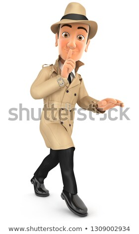 3d detective walking on tiptoe Stock photo © 3dmask