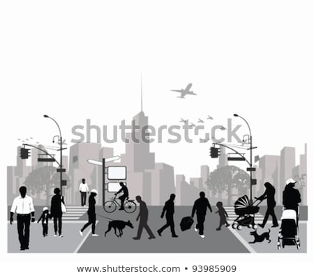 Children Walking in City Cityscape with Skyscrapers Stock photo © robuart
