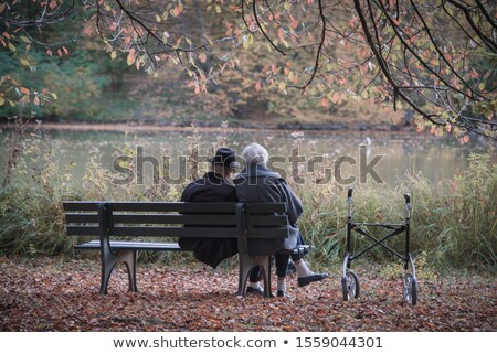 Old People Couple Man and Woman Rolling in Park Stock photo © robuart