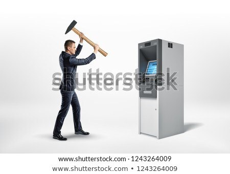 the damaged ATM and the angry man Stock photo © studiostoks