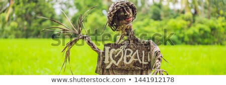 Scarecrow on the rice terrace with a sign I love Bali Stock photo © galitskaya