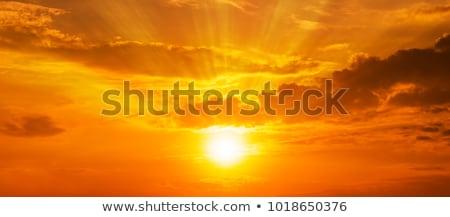 синий · красный · закат · красивой · пляж · небе - Сток-фото © iko