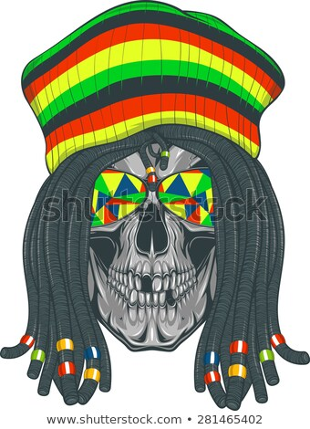Rastafarian isolated vector skull with dreadlocks. Stock photo © netkov1