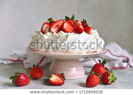 Pavlova sweet cake homemade Stock photo © Peteer