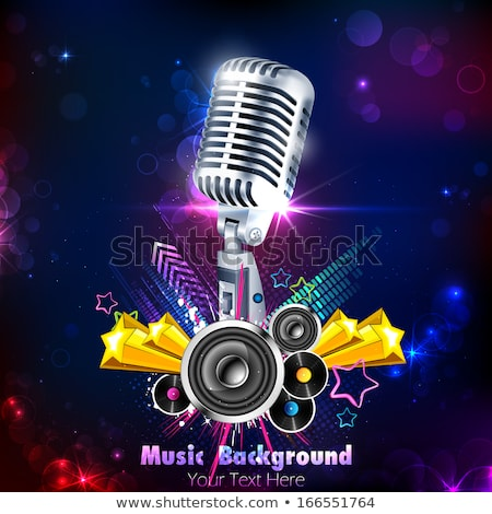 Concert Musical Instrument and Vintage Mike Vector Stock photo © robuart