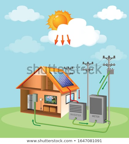 Diagram showing how solar cell works at home Stock photo © bluering