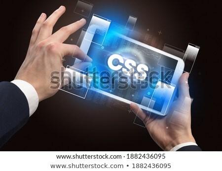 Primer plano pantalla táctil abreviatura moderna tecnología negocios Foto stock © ra2studio