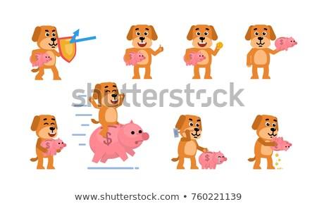 rózsaszín · persely · arany · érmék · pénz · felirat · játék - stock fotó © ecelop
