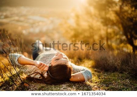 Kadın çayır yetişkin ahşap deniz gülümseme Stok fotoğraf © fotorobs
