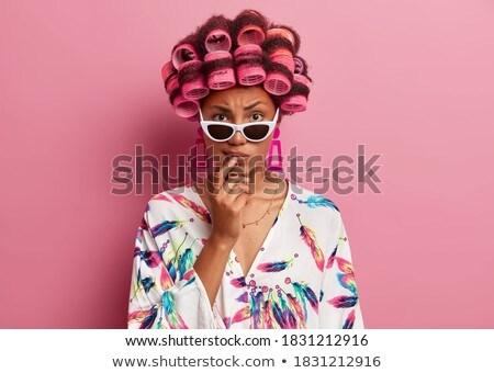 оптимистичный · женщину · Солнцезащитные · очки · изолированный · белый - Сток-фото © photography33