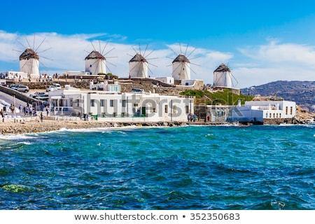 ギリシャ · 有名な · 島 · 夏 · 日 · 家 - ストックフォト © ElinaManninen