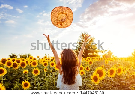 woman on blooming sunflower field Stock photo © rozbyshaka