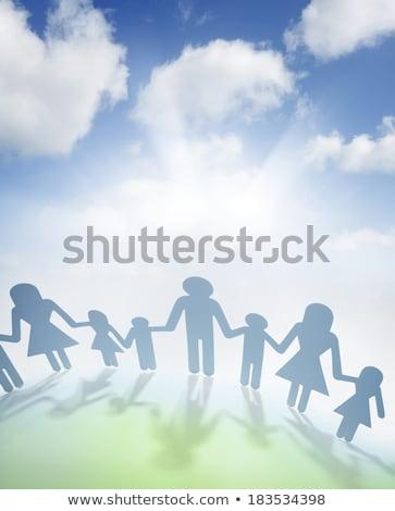 kâğıt · aile · el · güneş · mavi · gökyüzü · bo - stok fotoğraf © oly5