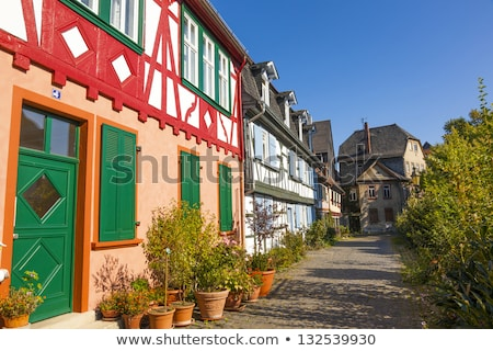 tradicional · medieval · vermelho · branco · arquitetura · blue · sky - foto stock © meinzahn