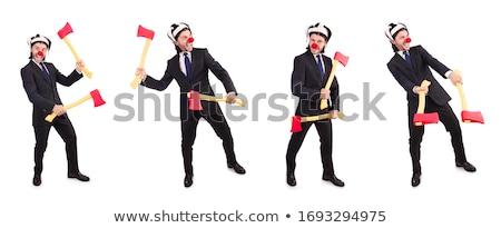 смешные бизнесмен топор белый бизнеса служба Сток-фото © Elnur