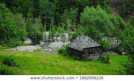 bois · chalet · montagnes · hiver · paysage · faible - photo stock © kayco