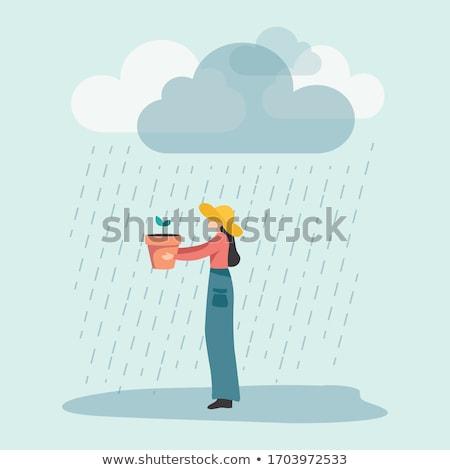 девушки дождь счастливым красивая девушка зонтик черный Сток-фото © PetrMalyshev