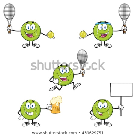 Green Cartoon Tennis Ball With Smiling Face Stok fotoğraf © HitToon