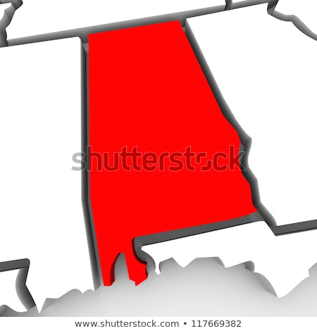 Alabama AL Red 3d State Map Stock photo © iqoncept