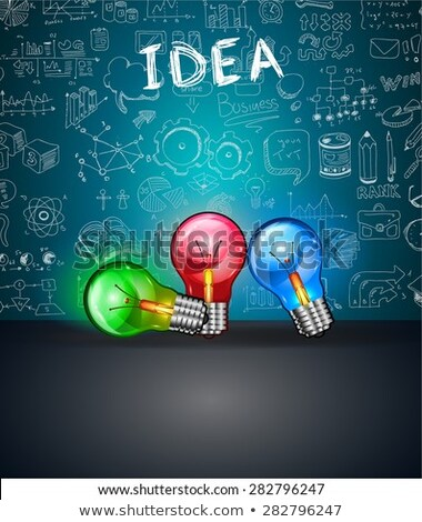 conceptual light bulb idea backgroud with space for text and 3 colorful lamps stock photo © davidarts