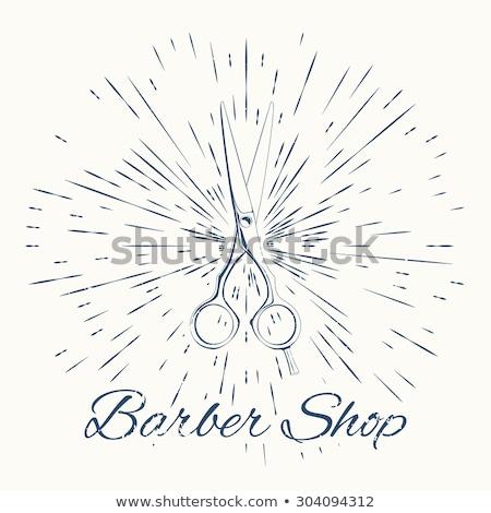 scissors and vintage sun burst frame. Barbershop emblem Stock photo © netkov1