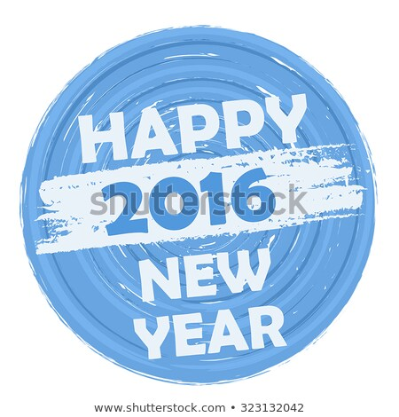 Happy New Year 2016 In Circular Drawn Blue Banner Foto stock © marinini
