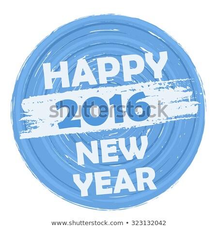 Happy New Year 2016 In Circular Drawn Blue Banner Stockfoto © marinini