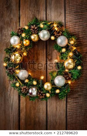 Rusztikus csőr ajtó karácsony koszorú fal Stock fotó © Sandralise