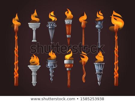 Oyunları el feneri stil yalıtılmış beyaz yangın Stok fotoğraf © Bigalbaloo