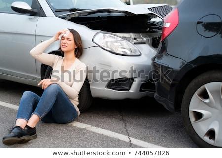 Sebesült autó fehér test elpusztított baleset Stock fotó © tony4urban