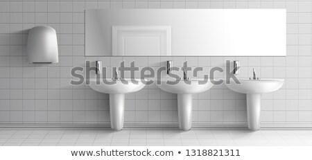 Hausmeister · Reinigung · Waschbecken · öffentlichen · Waschraum · Tuch - stock foto © paha_l