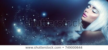 Portré lány szemhéjfesték fehér nő szem Stock fotó © OleksandrO