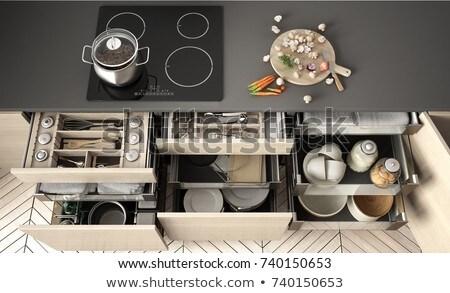 Keuken opslag illustratie witte achtergrond koken Stockfoto © bluering