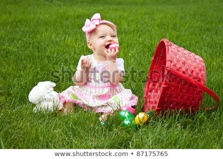 Töltött húsvéti nyuszi piros tojás húsvéti tojás szeretet Stock fotó © kb-photodesign