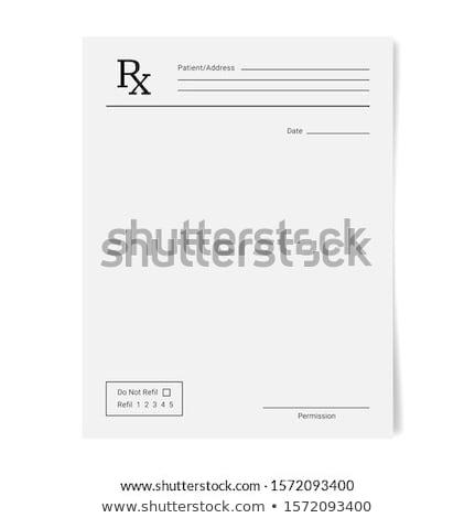 Stock fotó: Recept · szett · színes · tabletták · izolált · fehér