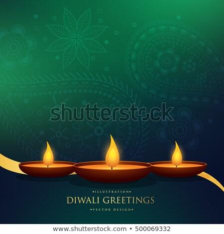 Elképesztő diwali üdvözlet dekoráció gyertya lámpa Stock fotó © SArts