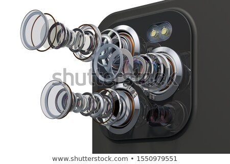 phone with lens on white background. Isolated 3D illustration Stock photo © ISerg
