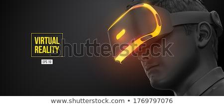 Stockfoto: Man · virtueel · realiteit · hoofdtelefoon · winkelen · online
